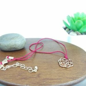 Flower Charm Choker Necklace with Red Cord